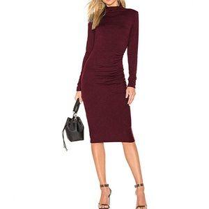 Wine Red Midi Bodycon Dress